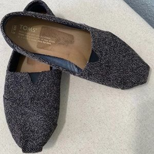 Toms Black and Gray Charcoal Slip On Classic Flats